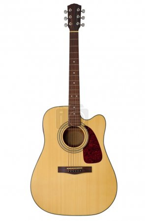 Photo for Acoustic guitar isolated on white with clipping path - Royalty Free Image