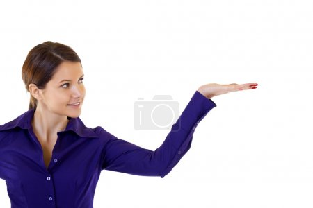 Photo for Business woman presenting something imaginary over white - Royalty Free Image