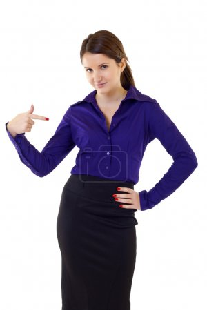 Business woman pointing at herself