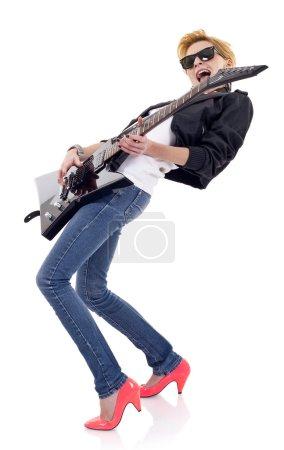 Passionate girl guitarist