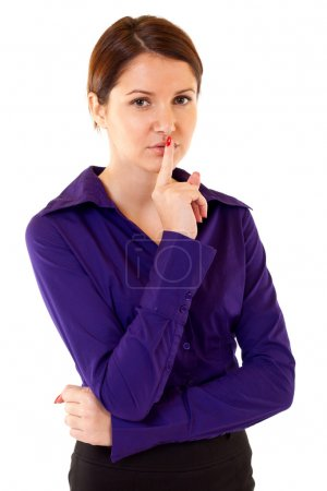 Woman with the finger near lips