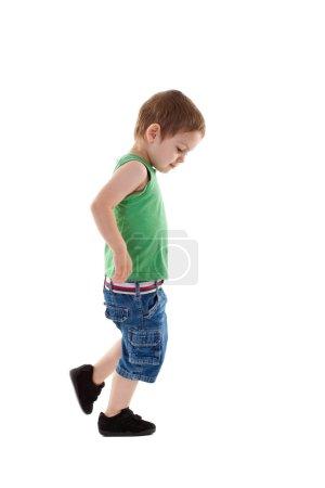 Walking small boy
