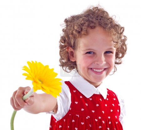 Photo for Picture of a little girl with flower isolated on white - Royalty Free Image