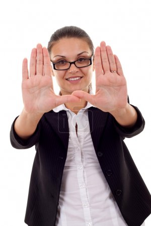 Woman showing framing hand