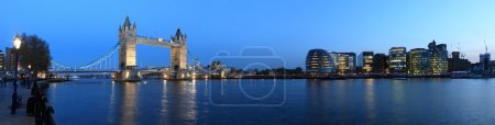 Photo for Tower Bridge and the Thames panoramic view about London at night - Royalty Free Image