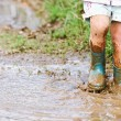Child's feet stomping in a mud puddle....