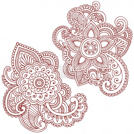 Photo for Hand-Drawn Abstract Henna Mehndi Abstract Mandala Medallion Paisley Flowers Doodle Vector Illustration Design Elements - Royalty Free Image