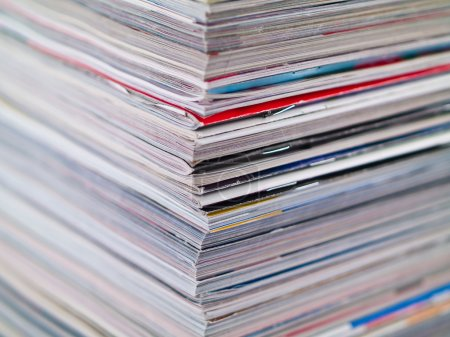 Photo for A stack of magazines filling the frame from top to bottom focus on corner edge - Royalty Free Image
