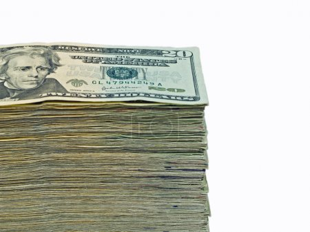Stack of United States currency background - $20