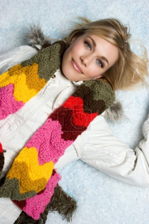 Photo for Beautiful blond winter girl in snow - Royalty Free Image
