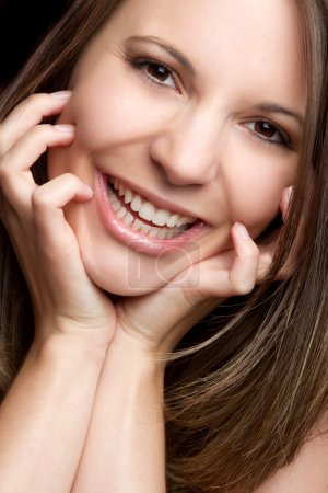 Photo pour Magnifique portrait de femme souriante - image libre de droit