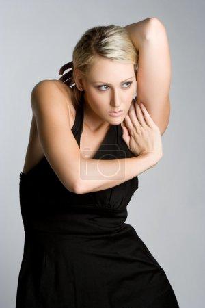 Photo pour Femme Fashion robe noire - image libre de droit