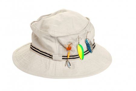 Khaki hat with fishing tackle