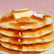 Closeup of pancakes with syrup and butter...