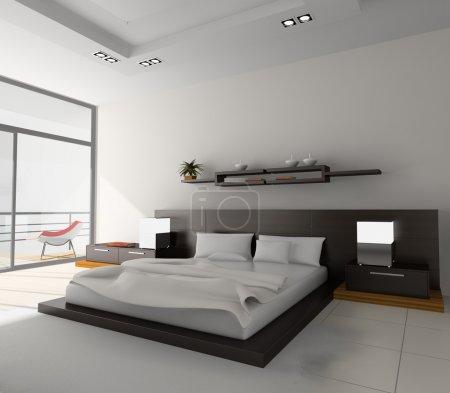 Photo pour Intérieur moderne dans les chambres avec lit - image libre de droit