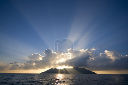 Photo for Beautiful view of Silhouette Island, Seychelles at sunset - Royalty Free Image