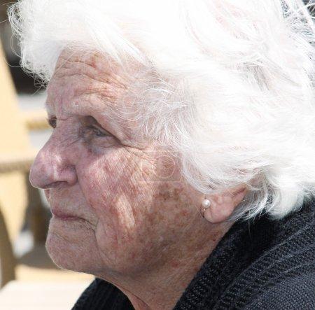Sad old woman portrait