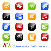 Sale and shopping icons - set of 16 different business icons each with 5 different backgrounds