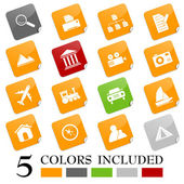 Set of 16 different web/travel icons EPS file includes each icon in 5 colors