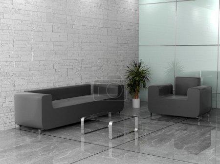 Photo pour Intérieur du bureau moderne 3D - image libre de droit