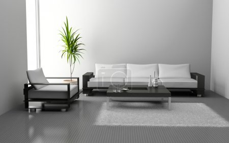 Photo for Modern interior of living room 3D - Royalty Free Image