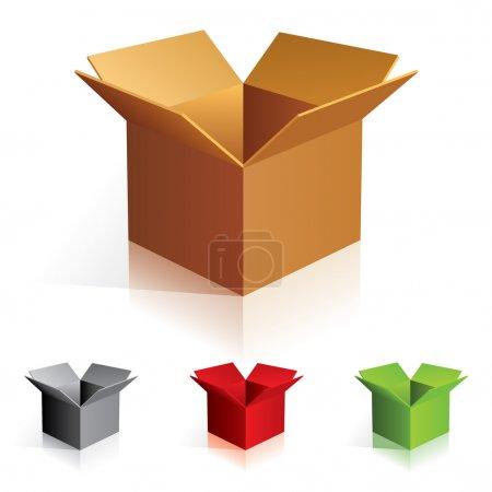 Ilustración de Illustraion de cajas de cartón de color abierto. para el diseño - Imagen libre de derechos