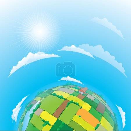 Illustration for Vector illustration of earth globe with agricultural fields - Royalty Free Image