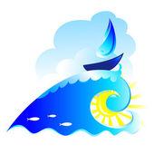Sailing ship on spiral wave