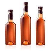 Realistic vector bottles of cognac (brandy) Isolated on white background