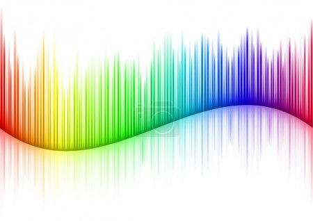 Illustration for Colorful Sound waveform (editable vector) on white - Royalty Free Image