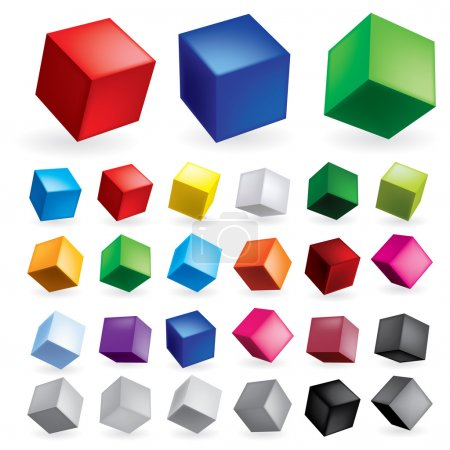 Illustration for Cubes in various combinations of position for training - Royalty Free Image