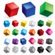 Cubes in various combinations of position for trai...