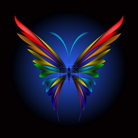 Illustration for Vector illustration of icon simply butterfly on black background - Royalty Free Image