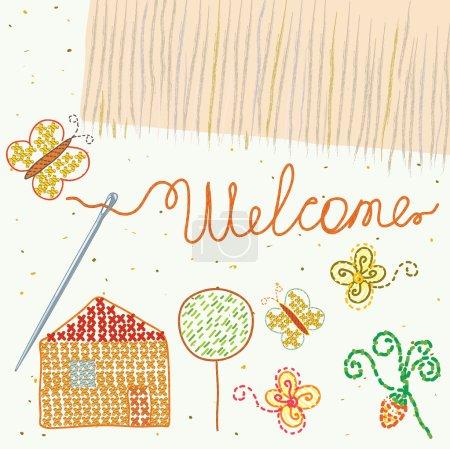 Illustration pour Elément design pour broderie avec étiquette de bienvenue - image libre de droit