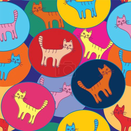 Illustration for Cute seamless pattern with cats and circles - Royalty Free Image