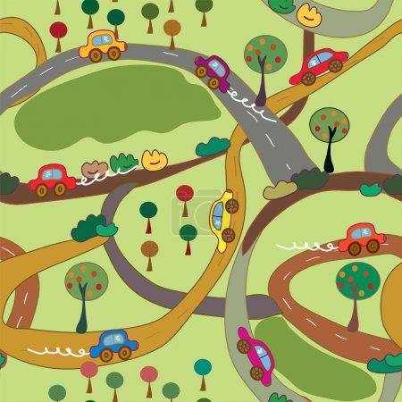 Photo for Cartoon seamless pattern with cars and roads in the country - Royalty Free Image