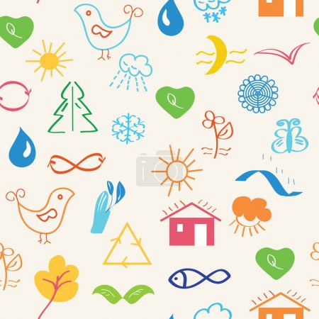 Illustration for Environmental seamless pattern with nature symbols - Royalty Free Image