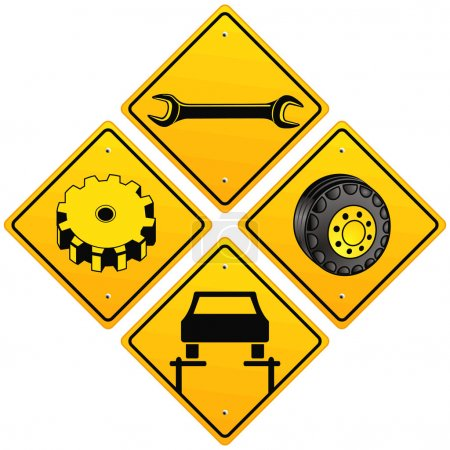 Illustration for Mechanics repairing car sign - Royalty Free Image