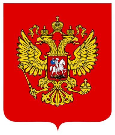 Photo pour Armoiries de la Russie, le sceau ou l'emblème national, isolé sur fond blanc. - image libre de droit