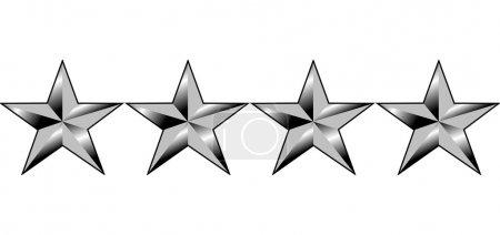 Photo pour Illustration de quatre étoiles du rang de généraux de l'Amérique, isolé sur fond blanc. - image libre de droit