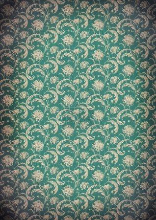 Photo pour Vieux papier peint style victorien, design. Modèle de chrysanthème . - image libre de droit