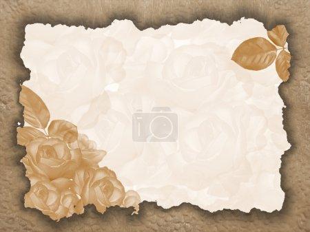 Photo pour Un élément de conception pour un fond de félicitations. Ornement décoratif avec des roses . - image libre de droit