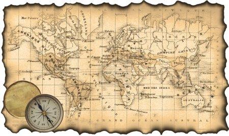 Photo pour Carte ancienne du monde. les bords déchirés, roussis. boussole - image libre de droit