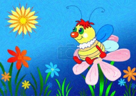 Photo pour Abeille et fleurs d'une camomille. Figure des enfants . - image libre de droit