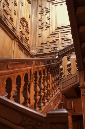 Photo for Red Wood Staircase in Roumiantsev's Mansion in Saint Petersburg. - Royalty Free Image