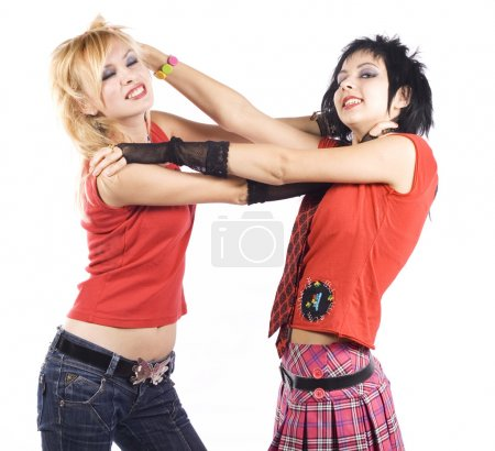 Two girlfriends fighting