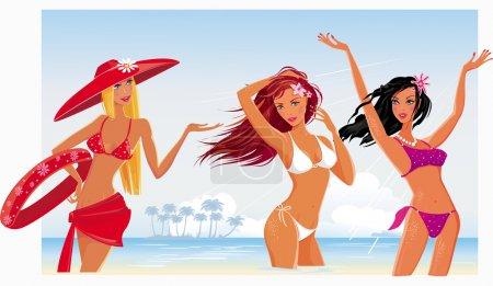 Beautiful sexy girls on the beach