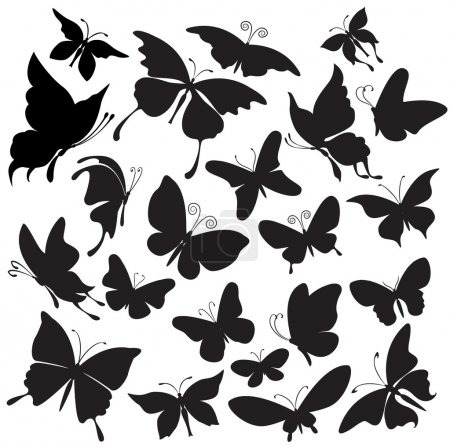 Illustration pour Ensemble de silhouettes de papillons - image libre de droit