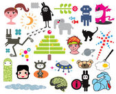 Mix of different vector images:anomals  robots Clipart