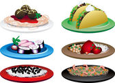 Vector of six different Ethnic Food dishes Chinese Cuban Indian Italian Japanese and Mexican Food 2 of 10 in series